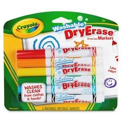 Crayola Crayola Dry-erase Washable Broadline Markers - Red, Green, Bright Blue, Yellow, Black, Orange Ink - 6 / Set