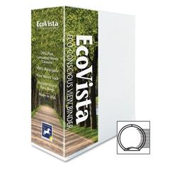 """Aurora Eco-Vista View Binder - 3"""" Binder Capacity - Letter - 8.50"""" x 11"""" Sheet Size - 3 x Round Ring Fastener(s) - 2 Spine, Inside Front & Back, Inside Front Pocket(s) - Polypropylene, Paperboard - Wh"""