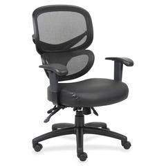 "Lorell Mesh-Back Leather Executive Chair - Leather Black Seat - 5-star Base - Black, Silver - Leather - 27"" Width x 27"" Depth x 40.5"" Height"