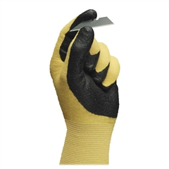 Ansell HyFlex Nitrile Gloves - 9 Size Number - Nitrile - Yellow - Abrasion Resistant, Knit Wrist, Latex-free - 2 / Pair