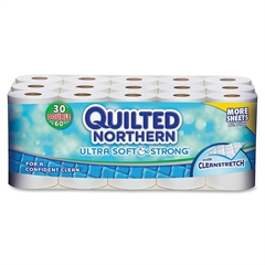 "Georgia-Pacific 2-Ply Quilted Northrn Bathrm Tissue - 2 Ply - 4"" x 4"" - 166 Sheets Per Roll - White - 30 / Carton"