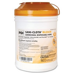 Sani-Cloth Bleach Wipe - Wipe - 75 / Canister - 1 Each - White