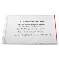 "Stride Semi-clear Landscape Sheet Protectors - 20 x Sheet Capacity - 11"" x 17"" Sheet - 3 x Holes - Clear - Polypropylene - 15 / Box"