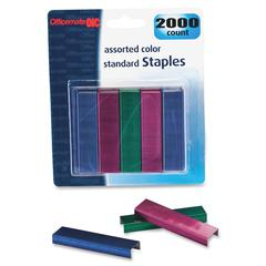 "OIC Assorted Colors Standard Staples - 105 Per Strip - 0.25"" Leg - 0.50"" Crown - 20 Capacity - Chisel Point - 2000 / Card"
