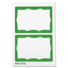 "Baumgartens Self-adhesive Visitor Badge - 100 / Box - 3.5"" Width x 2.3"" Height - Self-adhesive, Removable, Easy Peel - White, Green"