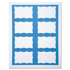"SICURIX Self-adhesive Visitor Badge - Blue Border - 200 / Box - 8.5"" Width x 11"" Height - Self-adhesive, Easy Peel, Pressure Sensitive, Removable - Blue"