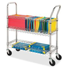 "Lorell Wire Mail Cart - 99.21 lb Capacity - 4 Casters - 4"" Caster Size - Steel - Chrome"