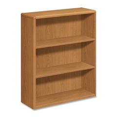 "HON Laminate Harvest Bookcases - 36"" x 13.1"" x 43.4"" - 3 x Shelf(ves) - 234 lb Load Capacity - Durable, Stain Resistant, Scratch Resistant, Double Radius Edge - Harvest - Laminate - Wood - Recycled"