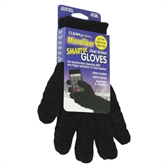 Caster Dual Action Microfiber Gloves - MicroFiber - Black - Washable, Fingerprints-free, Smudge-free - For Touchscreen Device - 1 Pair