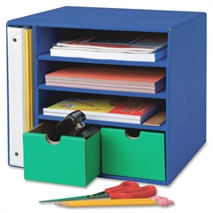 """Pacon Classroom Keepers Management Center - 4 Compartment(s) - 2 Drawer(s) - Drawer Size 3.50"""" x 4.88"""" - 12.4"""" Height x 13.5"""" Width x 12.4"""" Depth - Recycled - Blue - 1Each"""