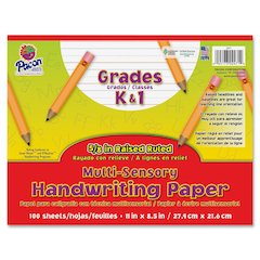 """Pacon Grades K-1 Multi-sensory Handwriting Tablet - 11"""" x 8.5"""" - Wide Rule - 100 Sheets/Pack - White"""
