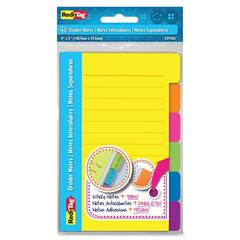 "Redi-Tag 4""x6"" Sticky Divider Notes - 4"" x 6"" - Quad Ruled - Assorted - Self-adhesive, Removable, Repositionable - 60 / Pad"