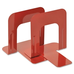 """MMF 5"""" Economy Bookends - 5"""" Height x 5.3"""" Width x 4.7"""" Depth - Recycled - Red - Steel - 2 / Pair"""