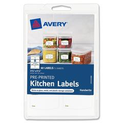 "Avery Pre-Printed Kitchen Labels 41453, Green Border, 1-3/4"" x 1-1/4"", Pack of 40 - Removable Adhesive - 1.75"" Width x 1.25"" Length - 8 / Sheet - Arch - White - 40 / Pack"