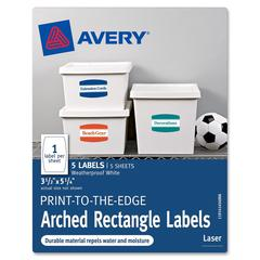 "Print-to-the-Edge Arched Rectangle Labels - Permanent Adhesive - 5.75"" Width x 3.25"" Length - 1 / Sheet - Arch - Laser - White - 5 / Pack"