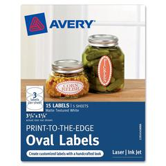"Avery Print-to-the-Edge Oval Labels 41458, Matte, 3-3/4"" x 1-5/8"", Pack of 15 - Permanent Adhesive - 3.75"" Width x 1.63"" Length - 3 / Sheet - Oval - Inkjet, Laser - Matte White - 15 / Pack"