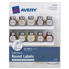 "Embossed Round Labels 41466, Matte Silver Foil, 2"" Diameter, Pack of 48 - Permanent Adhesive - 2"" Diameter - 12 / Sheet - Circle - Inkjet - Matte Silver - 48 / Pack"
