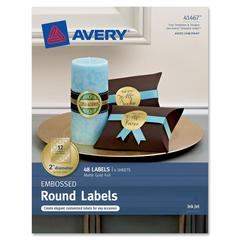 "Avery Embossed Round Labels 41467, Matte Gold Foil, 2"" Diameter, Pack of 48 - Permanent Adhesive - 2"" Diameter - 12 / Sheet - Circle - Inkjet - Matte Gold - 48 / Pack"
