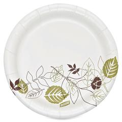 "Dixie Heavyweight Soak Proof Shield Paper Plates - 125 / Pack - 5.88"" Diameter Plate - Paper Plate - Microwave Safe - White, Brown, Green - 500 Piece(s) / Carton"
