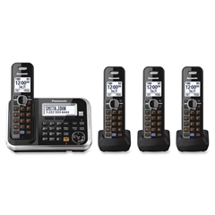 Panasonic KX-TG6844B DECT 6.0 1.90 GHz Cordless Phone - Black - Cordless - 1 x Phone Line - 3 x Handset - Speakerphone - Answering Machine - Backlight