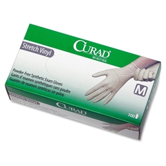 Curad Stretch Vinyl Exam Gloves - Medium Size - Vinyl - Latex-free, Powder-free, Stretchable - 100 / Box