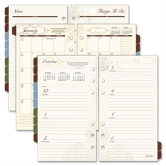 """Tabbed 2PPM Weekly/Monthly Planner Refills - Julian - Weekly, Monthly - 1 Week, 1 Month Double Page Layout - 3.75"""" x 6.75"""" - 6-ring - White - Tabbed, Hole-punched"""