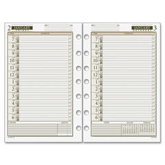"""Day Runner 1PPD Dated Daily Planner Refills - Julian - Daily - 1 Year - January 2017 till December 2017 - 7:00 AM to 6:00 PM - 1 Day Single Page Layout - 5.50"""" x 8.50"""" - 7-ring - White - Tabbed, Hole-"""