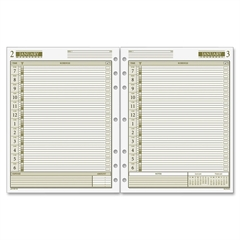 "Day Runner 1PPD Dated Daily Planner Refills - Julian - Daily, Monthly - 1 Year - January 2017 till December 2017 - 7:00 AM to 6:00 PM - 1 Day Single Page Layout - 8.50"" x 11"" - 7-ring - White - Hole-p"