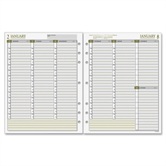 "Day Runner Vertical Weekly Planner Refill Pages - Julian - Weekly, Monthly - 1 Year - January 2017 till December 2017 - 7:00 AM to 7:30 PM - 1 Week Double Page Layout - 8.50"" x 11"" - 7-ring - White -"