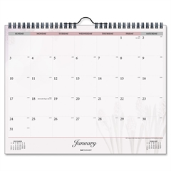 "Day Runner Nature Dated Monthly Wall Calendar - Julian - Daily - January 2017 till December 2017 - 1 Month Single Page Layout - 15"" x 12"" - Wire Bound - Wall Mountable - White - Chipboard - Hanging Lo"