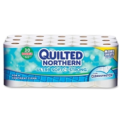 "Georgia-Pacific Quilted Northern Ultra Soft & Strong Bath Tissue - 2 Ply - 4"" x 4"" - White - Paper - Strong, Absorbent - 30 / Carton"
