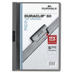 "Durable DURACLIP Report Cover - Letter - 8 1/2"" x 11"" Sheet Size - 60 Sheet Capacity - Graphite - 1 Each"