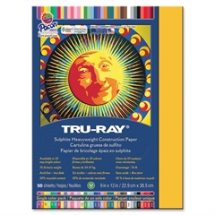 "Tru-Ray Heavyweight Construction Paper - 12"" x 9"" - 76 lb Basis Weight - 50 / Pack - Gold - Sulphite"