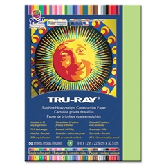 "Tru-Ray Heavyweight Construction Paper - 12"" x 9"" - 76 lb Basis Weight - 50 / Pack - Chartreuse - Sulphite"