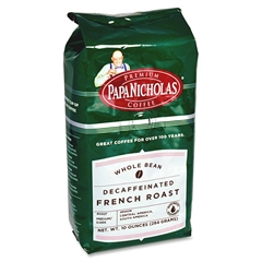 PapaNicholas Coffee WB Decaffeinated French Roast - Decaffeinated - French Roast - Dark/Bold - 10 oz - 1 Each