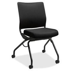 "HON Perpetual Knit Back Nesting Chair - Fabric Black Seat - Fabric Black Back - Steel Black Frame - Four-legged Base - 26"" Width x 26"" Depth x 36"" Height"