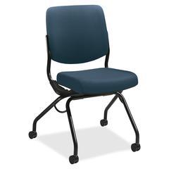 "Perpetual Nesting Armless Folding Chair - Fabric Cerulean Seat - Fabric Cerulean Back - Steel Black Frame - Four-legged Base - 26"" Width x 36"" Depth x 26"" Height"