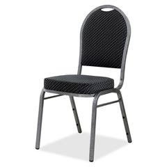 "Lorell Upholstered Textured Fabric Stacking Chair - Fabric Gray Seat - Fabric Gray Back - Steel Frame - Four-legged Base - 15.90"" Seat Depth - 15"" Width x 16"" Depth x 37"" Height"