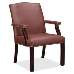"Lorell Bonded Leather Guest Chair - Bonded Leather Burgundy Seat - Bonded Leather Burgundy Back - Four-legged Base - 25"" Width x 27.5"" Depth x 35.8"" Height"