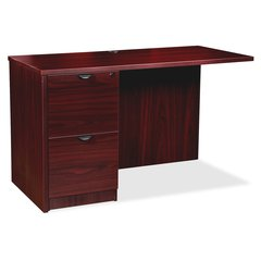 "Lorell Prominence 79000 Series Mahogany Return - 48"" x 24"" x 29"" - 2 x File Drawer(s) - Single Pedestal - Material: Particleboard - Finish: Laminate, Mahogany, Melamine"