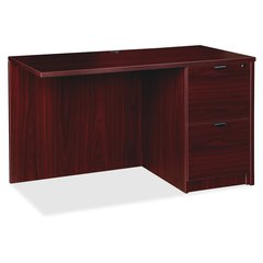 "Lorell Prominence 79000 Series Mahogany Return - 42"" x 24"" x 29"" - 2 x File Drawer(s) - Single Pedestal - Material: Particleboard - Finish: Laminate, Mahogany, Melamine"