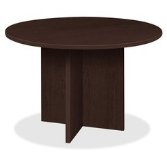 "Lorell Prominence 79000 Series Espresso Round Conference Table - Round Top - 1"" Table Top Thickness x 42"" Table Top Diameter - 29"" Height - Espresso, Melamine - Particleboard"