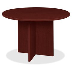 "Lorell Prominence 79000 Series Mahogany Round Conference Table - Round Top - 1"" Table Top Thickness x 42"" Table Top Diameter - 29"" Height - Mahogany, Melamine - Particleboard"