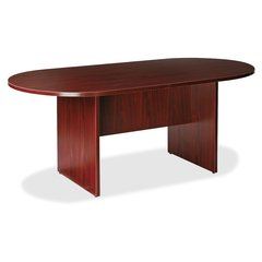 "Lorell Prominence 79000 Series Mahogany Racetrack Conference Table - Racetrack Top - 71"" Table Top Length x 36"" Table Top Width x 1"" Table Top Thickness - 29"" Height - Mahogany, Melamine - Particleboa"