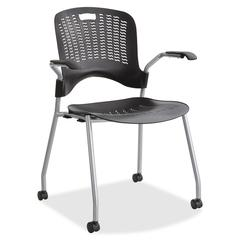 "Sassy Stack Chairs - Polypropylene Black Seat - Polypropylene Black Back - Silver Frame - Black - Nylon - 18"" Seat Width x 18"" Seat Depth - 25.5"" Width x 36.8"" Depth x 25"" Height"