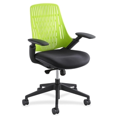 "Thrill Frameless Back Task Chair - Plastic Black Seat - Plastic Green Back - Black Frame - 28"" x 24"" x 39"" Overall Dimension"