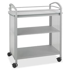 "Safco Impromptu Open Beverage Cart - 4 Casters - Polycarbonate - 34"" Width x 19.5"" Depth x 36.5"" Height - Metallic Gray Steel Frame - Gray"