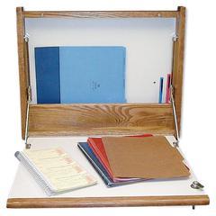 "Premium Oak/Lam. Foldup Wall Desk - Rectangle Top - 23"" Table Top Width x 4"" Table Top Depth - 18.80"" Height - Laminated, Oak"