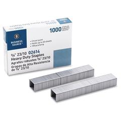 "Business Source Heavy-duty Staples - 100 Per Strip - Heavy Duty - 23/10 - 3/8"" Leg - 1/2"" Crown - Holds 60 Sheet(s) - for Paper - Chisel Point - Silver - 1000 / Box"