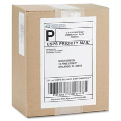 "Business Source Perm. Adhesive White Mailing Labels - Permanent Adhesive - 5.50"" Width x 8.50"" Length - Rectangle - Laser - White"